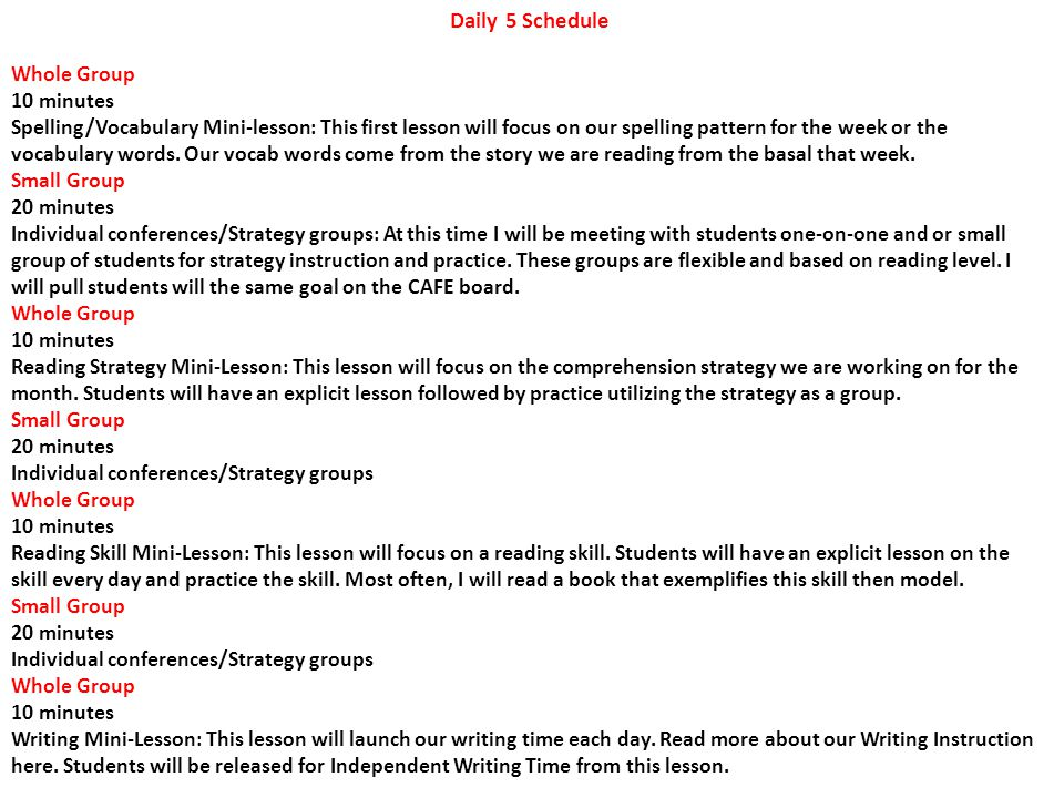 Daily 5 Schedule Whole Group. 10 minutes.