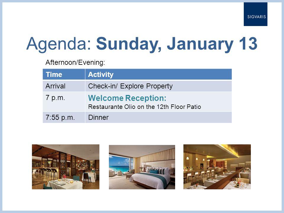 Agenda: Sunday, January 13