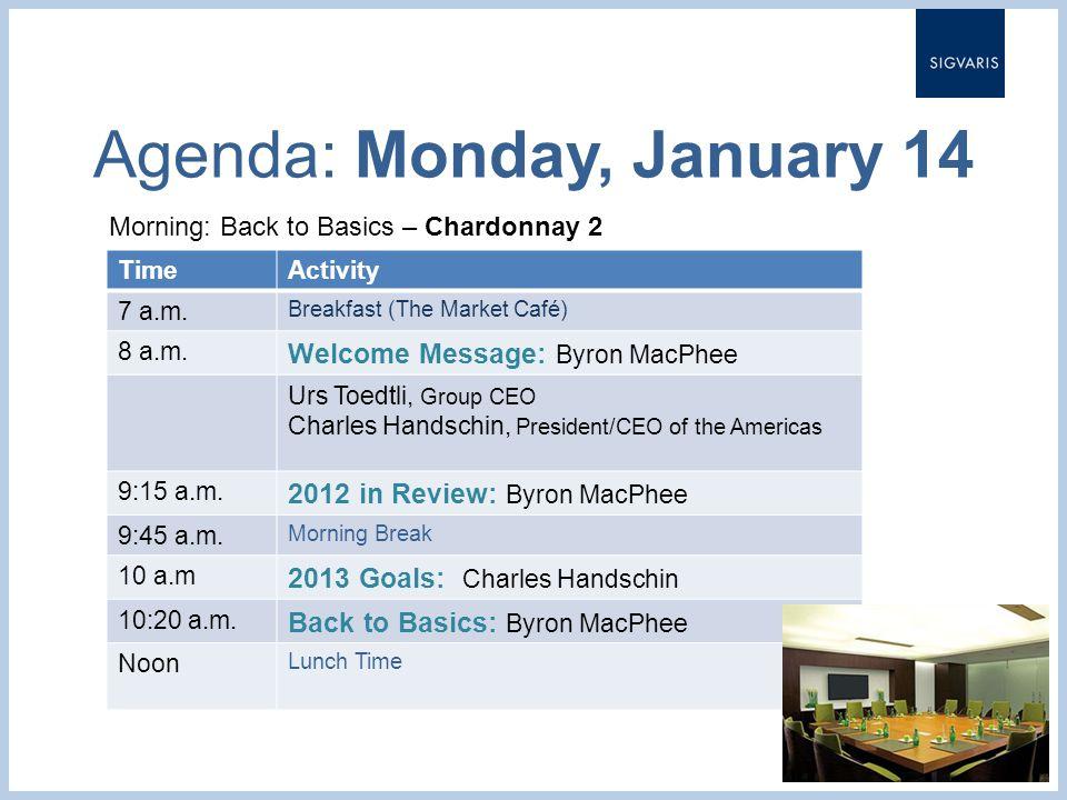 Agenda: Monday, January 14