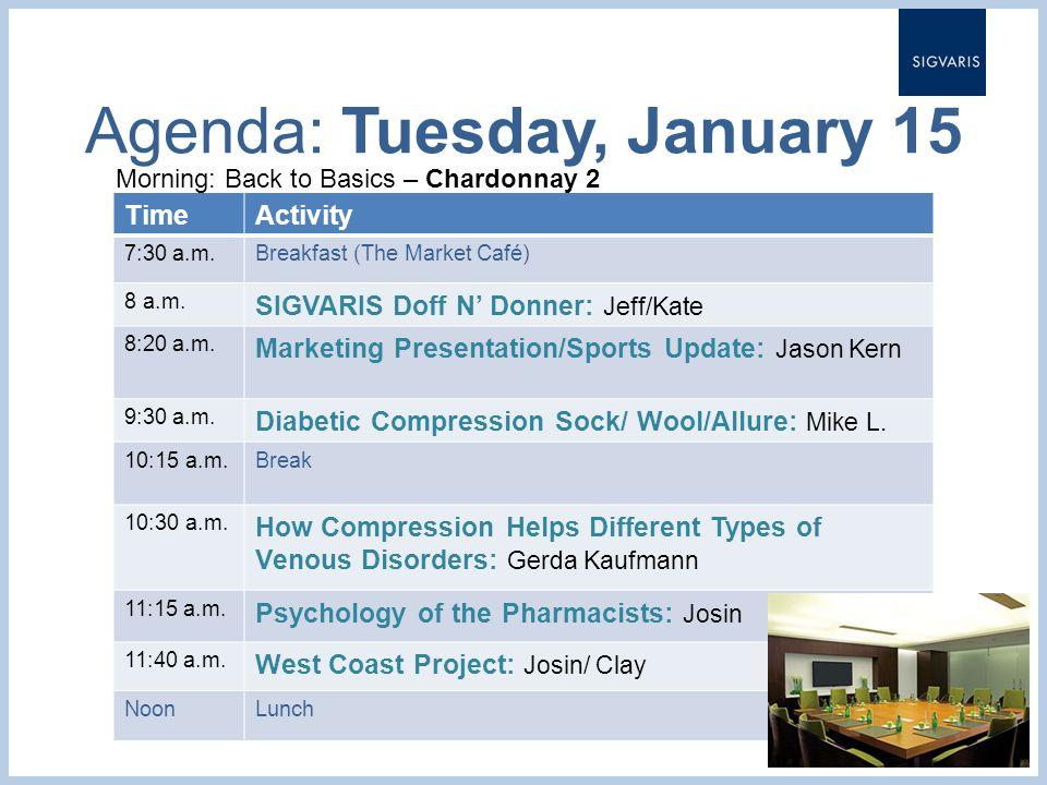 Agenda: Tuesday, January 15