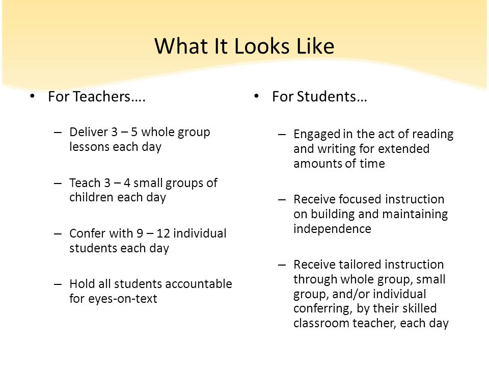 What It Looks Like For Teachers…. For Students…