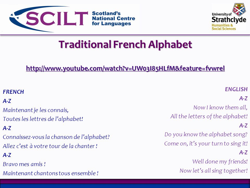 Traditional French Alphabet http://www. youtube. com/watch