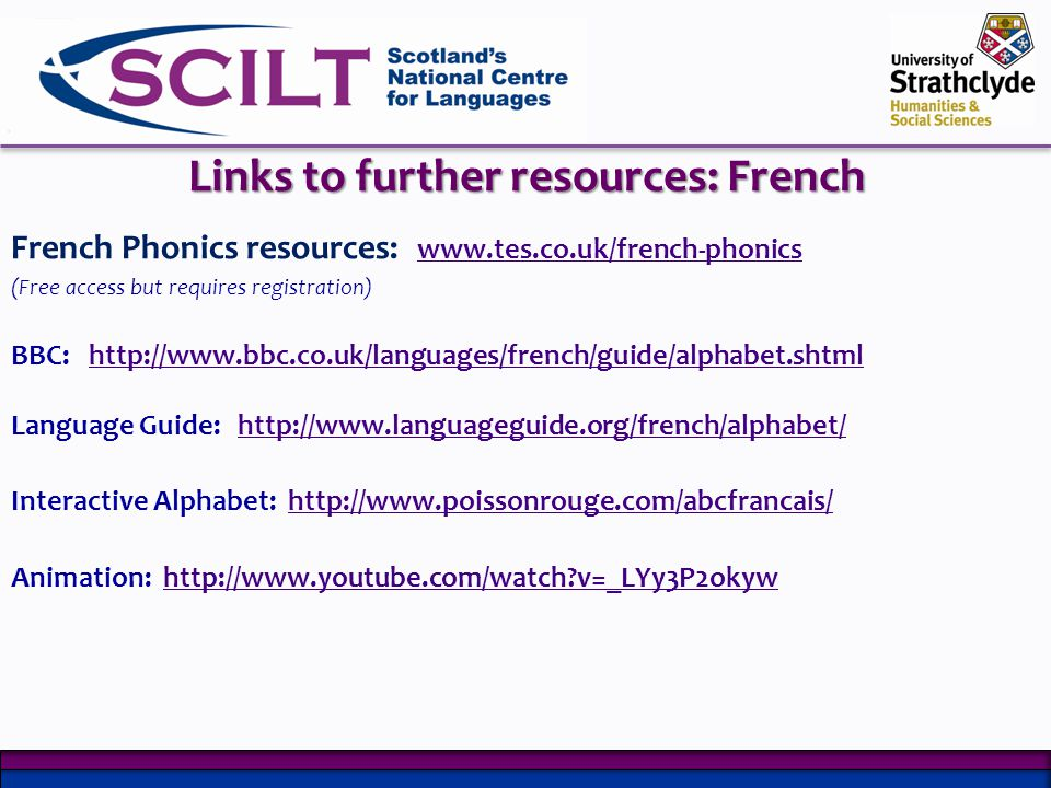 Links to further resources: French