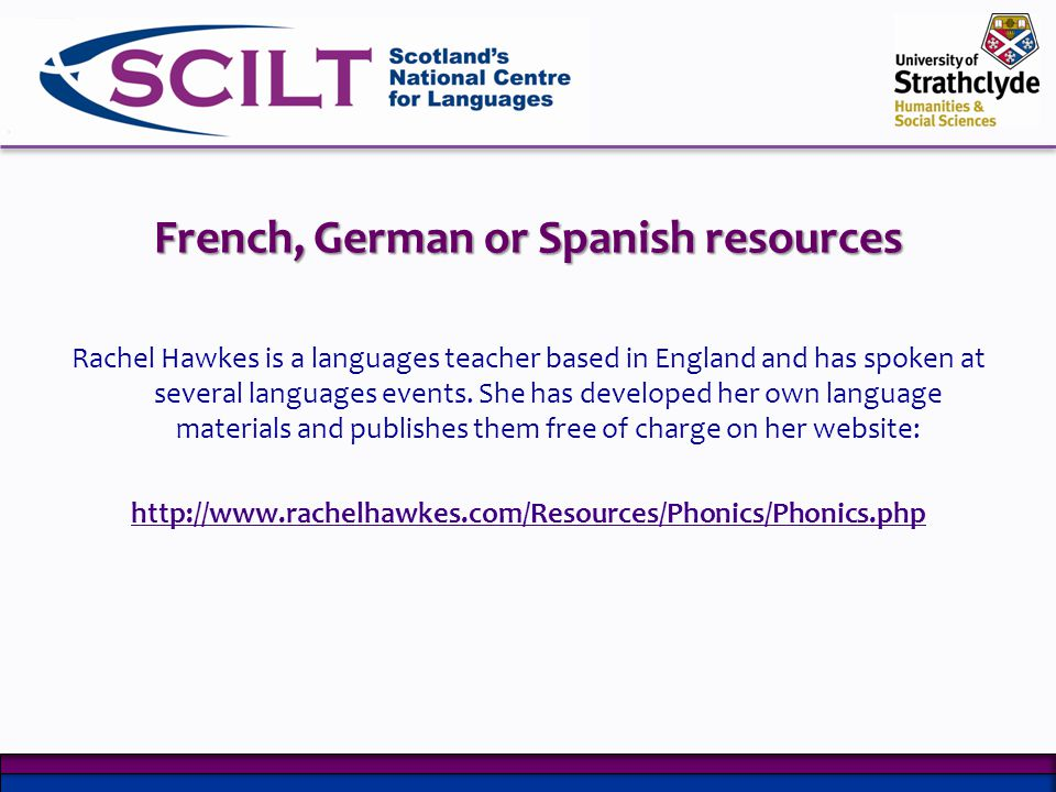 French, German or Spanish resources