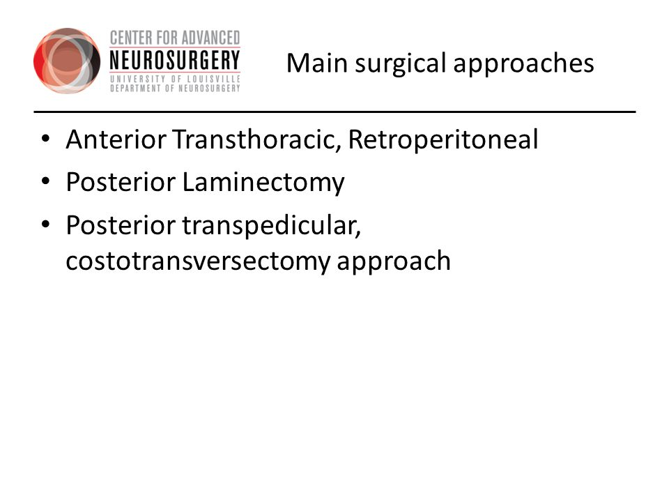 Main surgical approaches