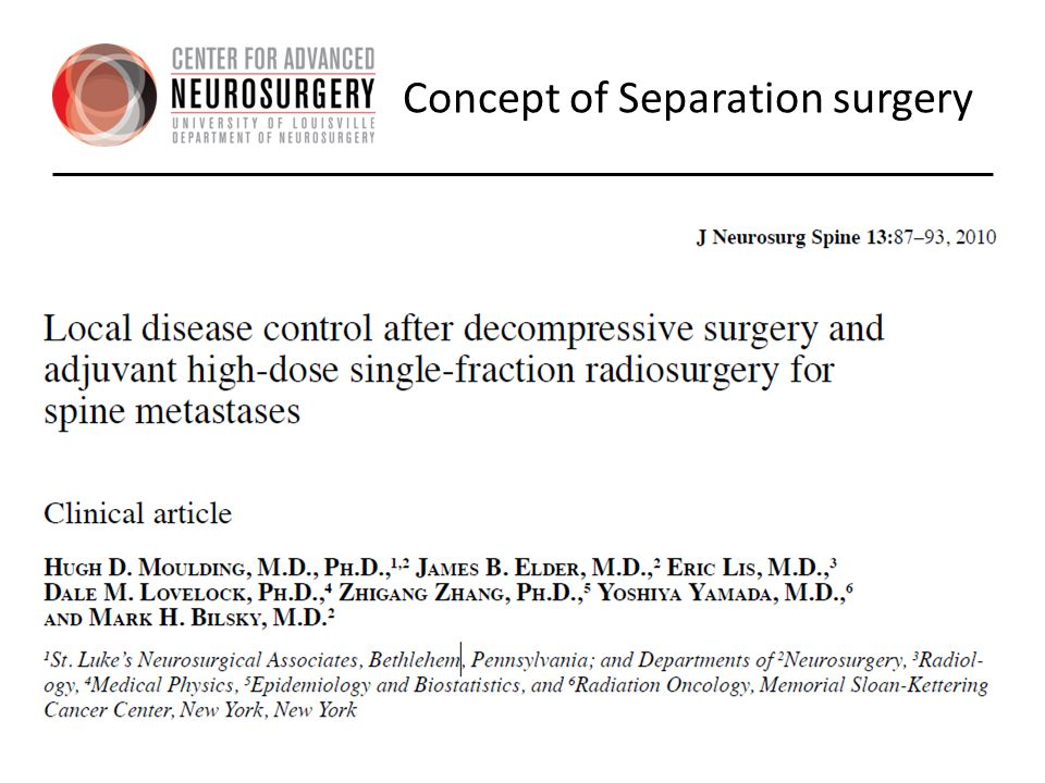 Concept of Separation surgery