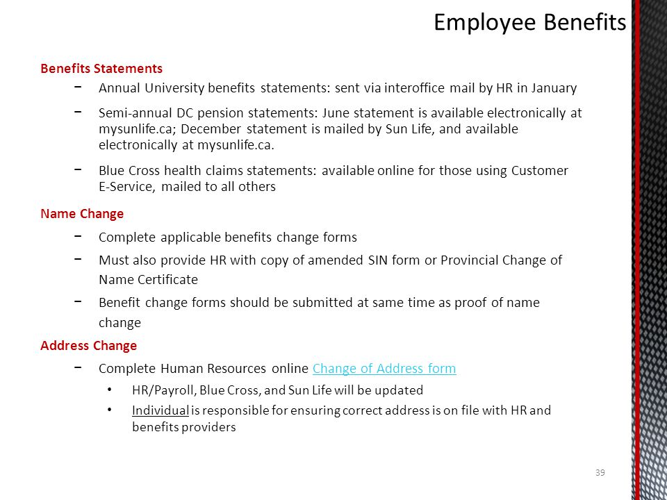 Employee Benefits Benefits Statements
