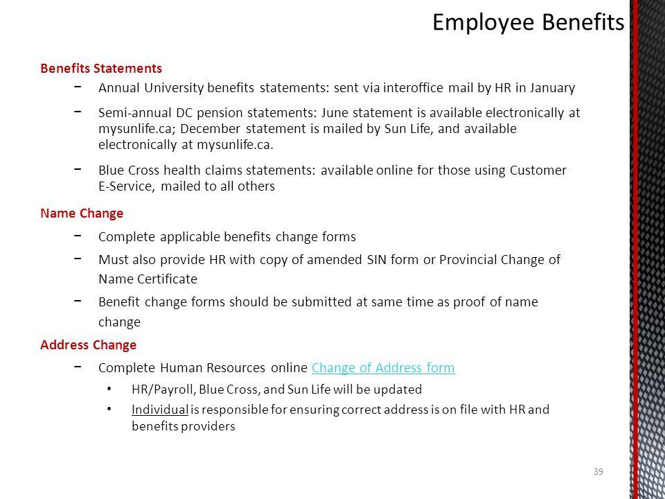 Employee Benefits Benefits Statements