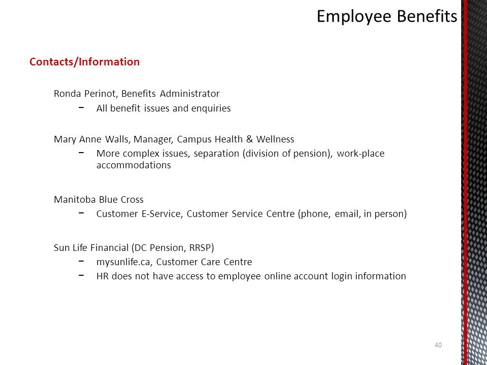 Employee Benefits Contacts/Information