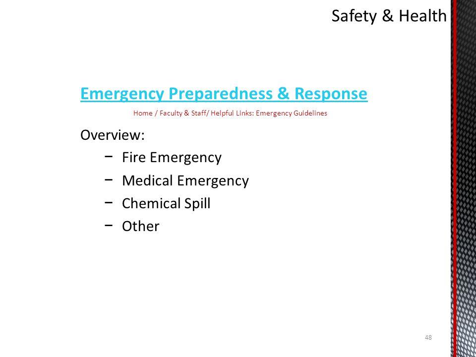 Home / Faculty & Staff/ Helpful Links: Emergency Guidelines