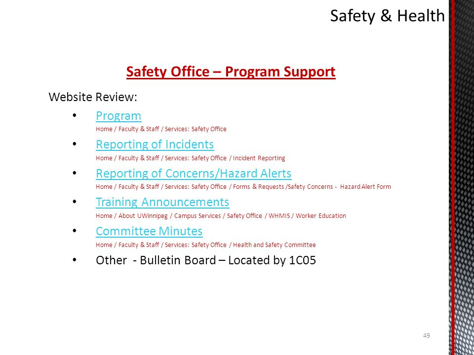 Safety Office – Program Support