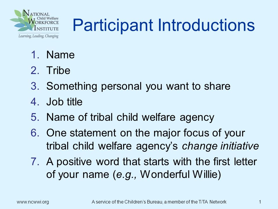 Participant Introductions