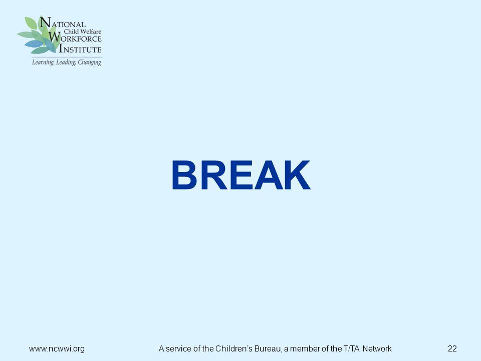 BREAK www.ncwwi.org A service of the Children's Bureau, a member of the T/TA Network 22.