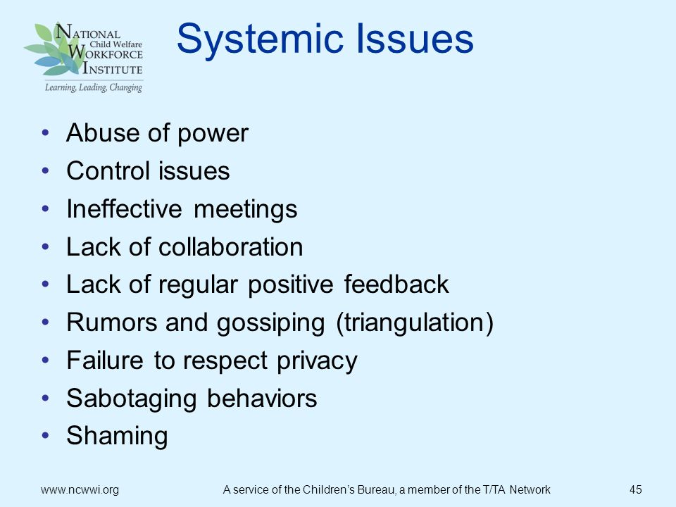 Systemic Issues Abuse of power Control issues Ineffective meetings