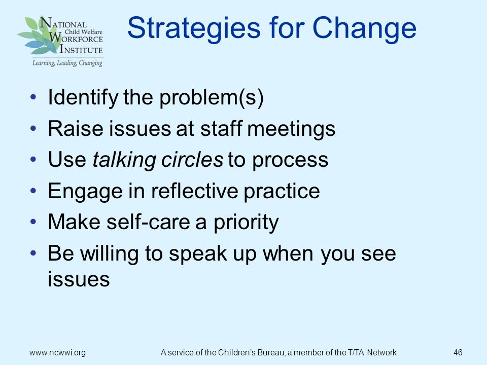 Strategies for Change Identify the problem(s)