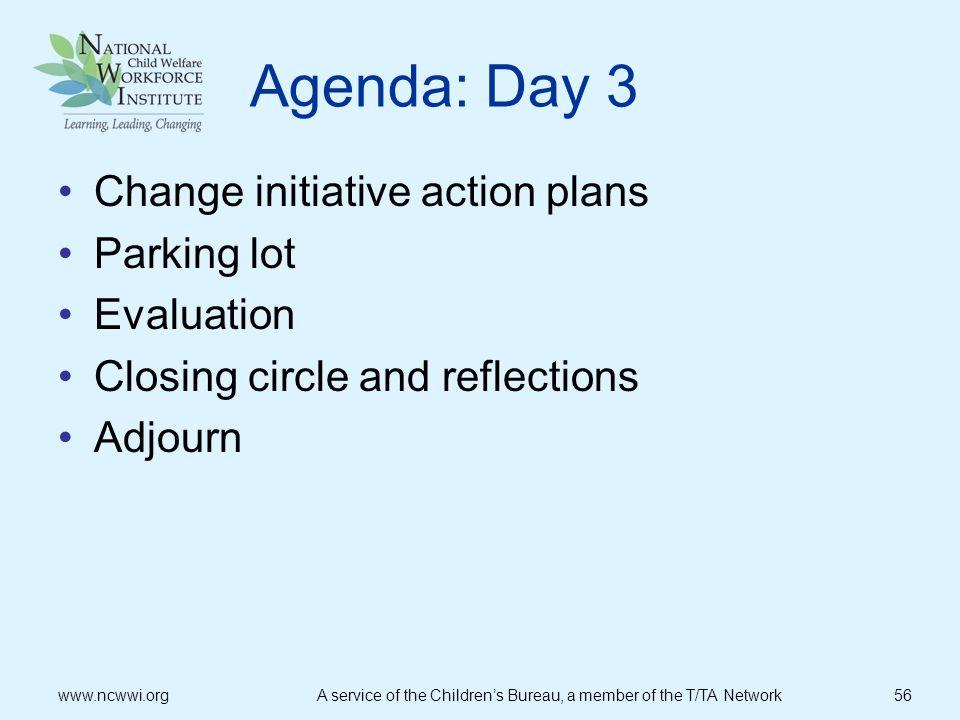 Agenda: Day 3 Change initiative action plans Parking lot Evaluation