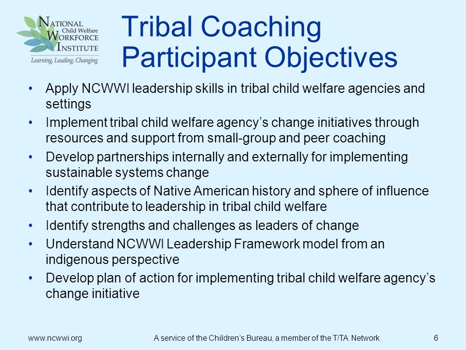 Tribal Coaching Participant Objectives