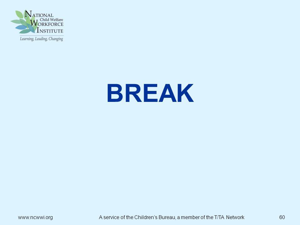 BREAK www.ncwwi.org A service of the Children's Bureau, a member of the T/TA Network 60.