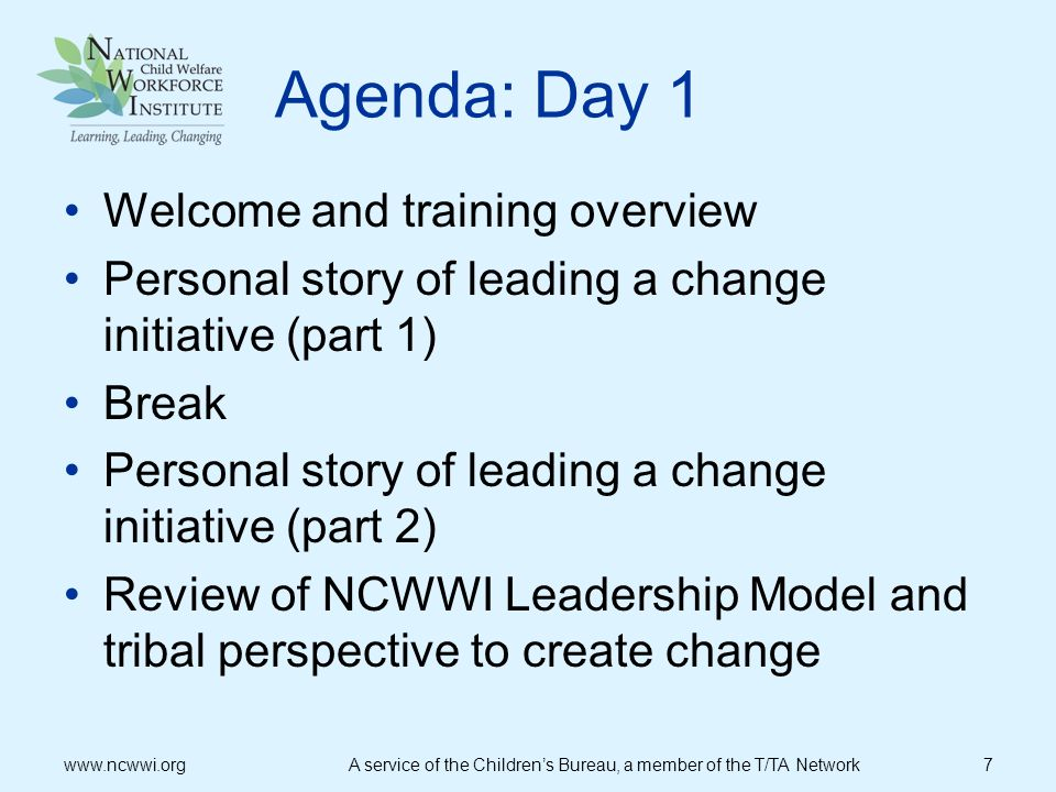 Agenda: Day 1 Welcome and training overview