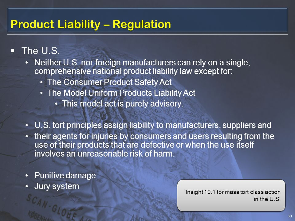 Product Liability – Regulation