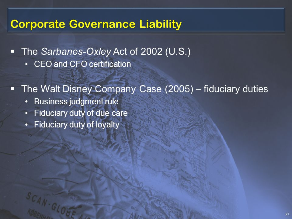 Corporate Governance Liability