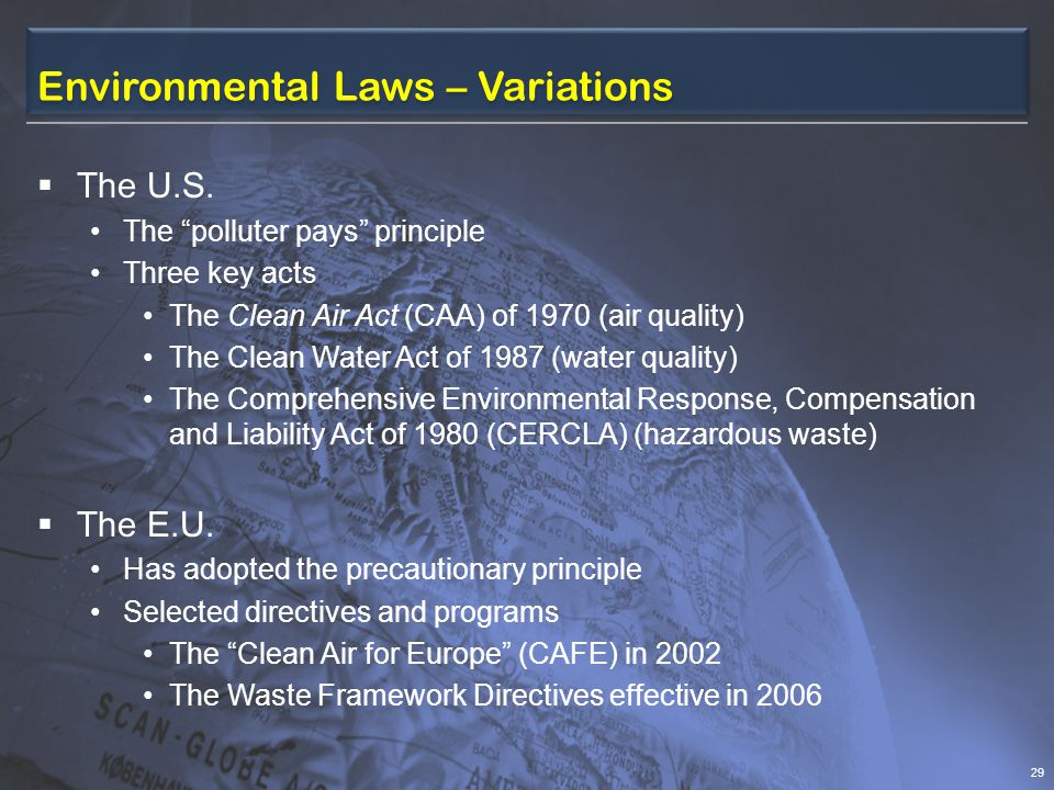 Environmental Laws – Variations