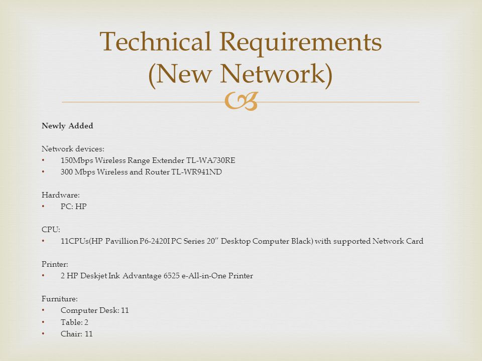 Technical Requirements (New Network)