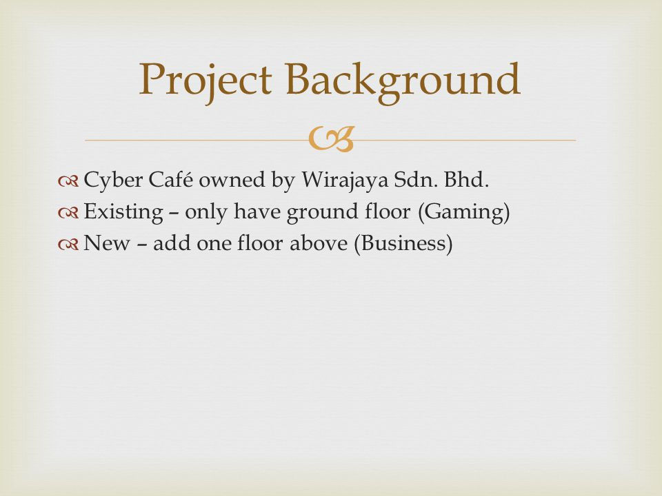Project Background Cyber Café owned by Wirajaya Sdn. Bhd.