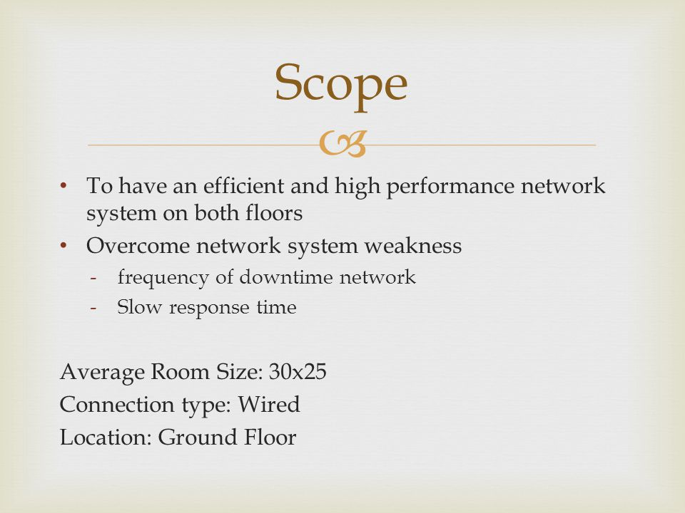 Scope To have an efficient and high performance network system on both floors. Overcome network system weakness.