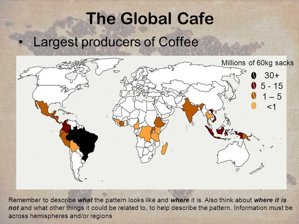 The Global Cafe Largest producers of Coffee 30+ 5 - 15 1 – 5 <1