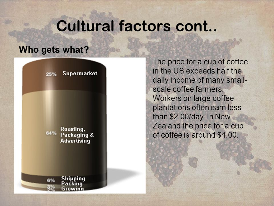 Cultural factors cont.. Who gets what