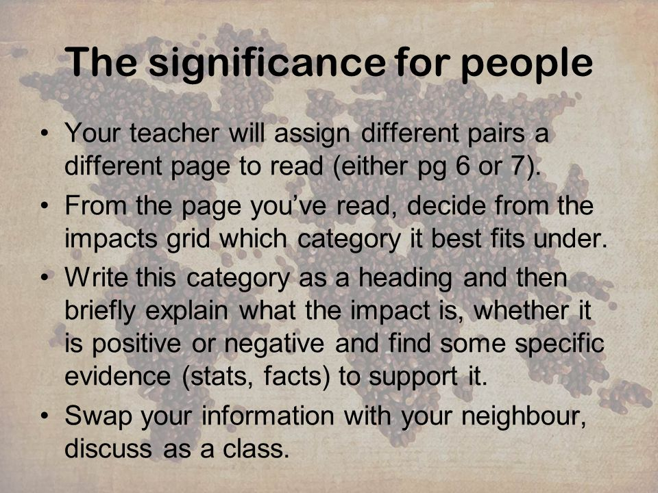 The significance for people