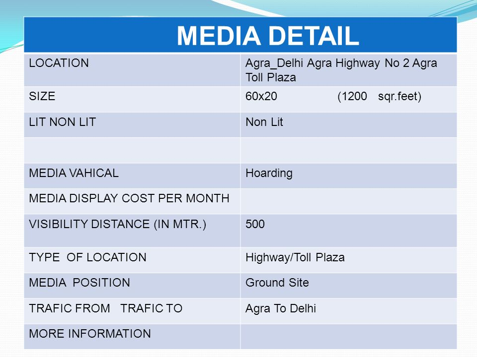 MEDIA DETAIL LOCATION Agra_Delhi Agra Highway No 2 Agra Toll Plaza