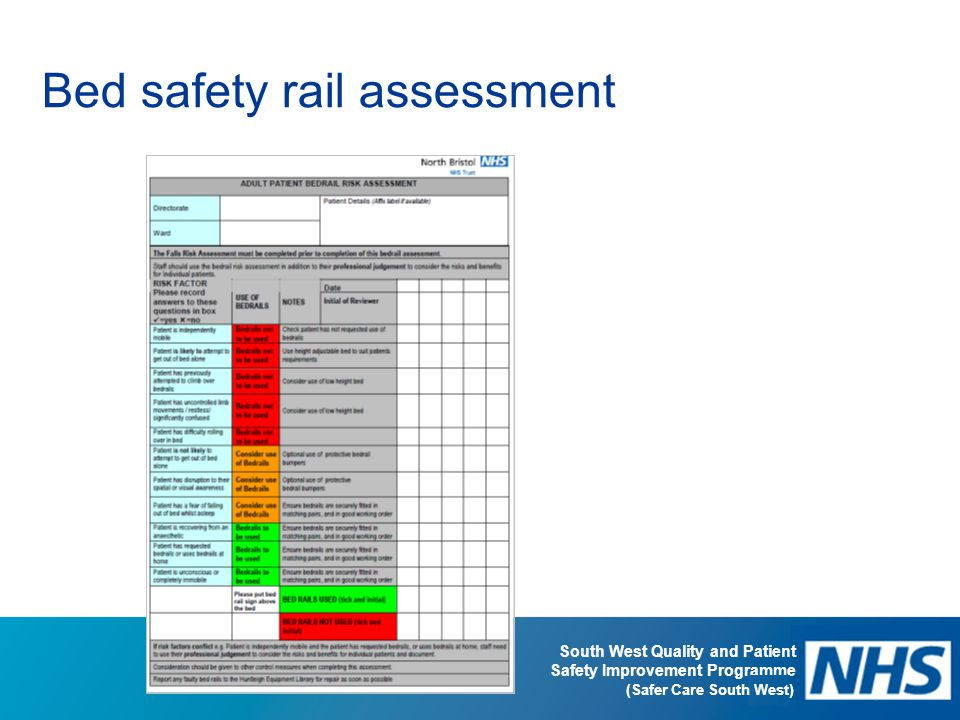Bed safety rail assessment
