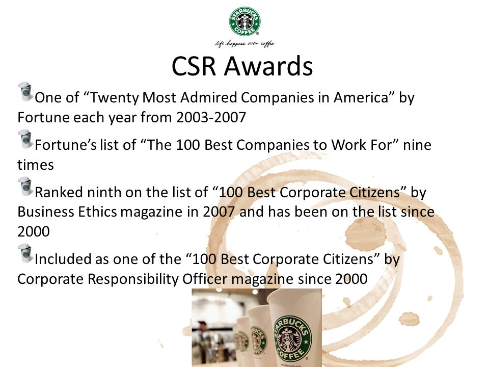 CSR Awards One of Twenty Most Admired Companies in America by Fortune each year from 2003-2007.