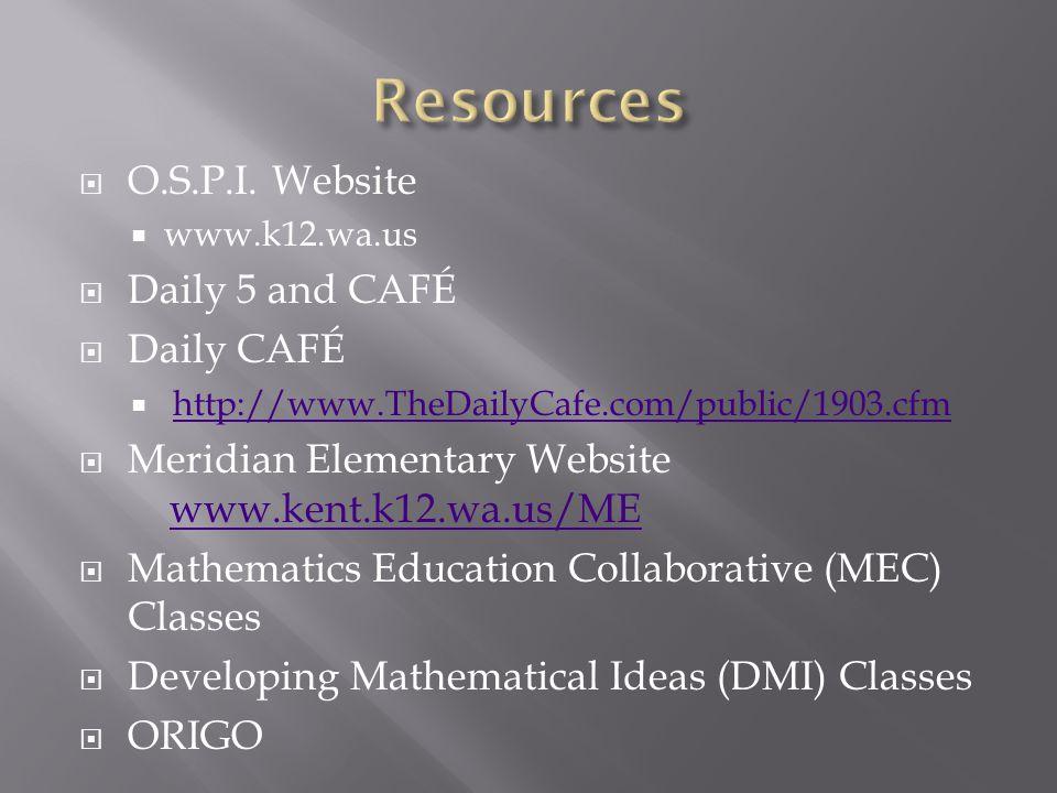 Resources O.S.P.I. Website Daily 5 and CAFÉ Daily CAFÉ