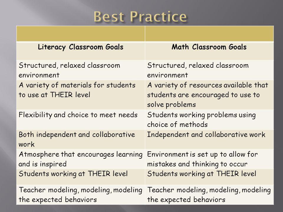 Literacy Classroom Goals