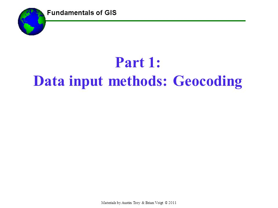 Part 1: Data input methods: Geocoding