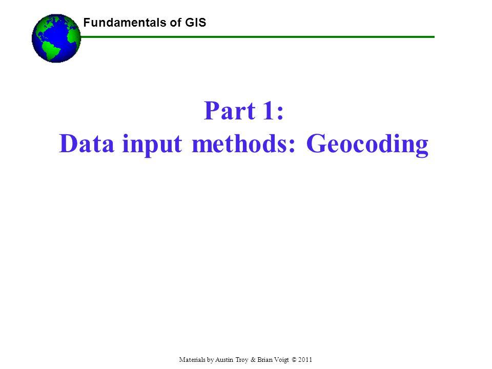 Part 1: Data input methods: Geocoding