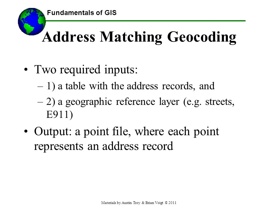 Address Matching Geocoding