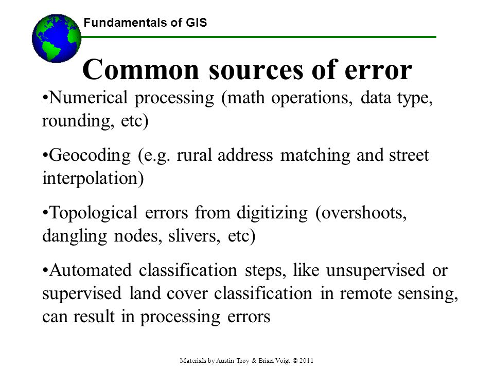 Common sources of error