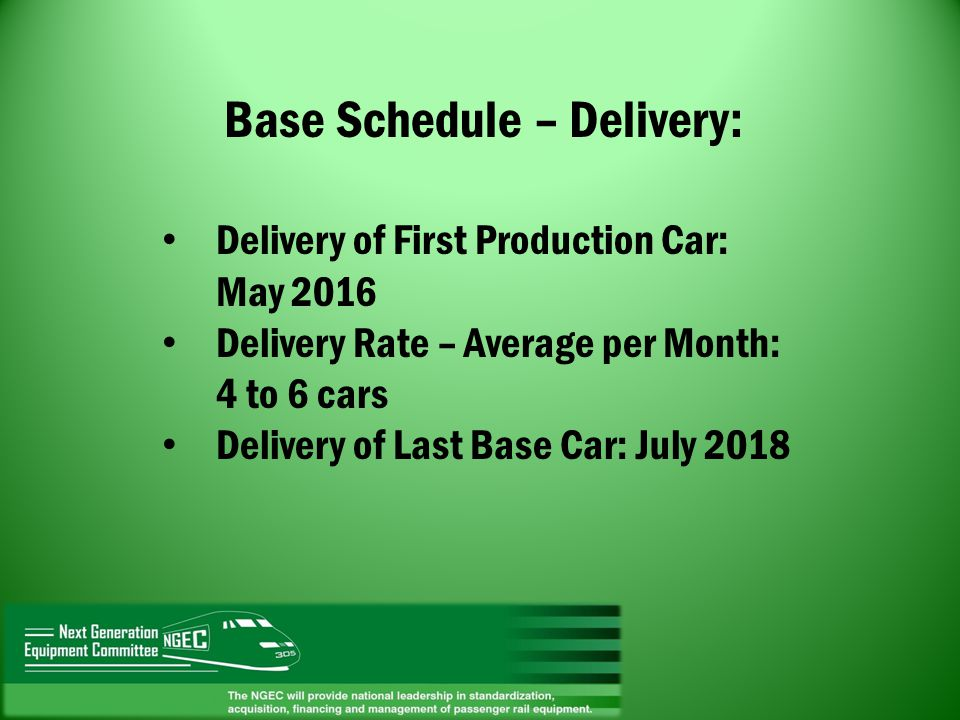 Base Schedule – Delivery: