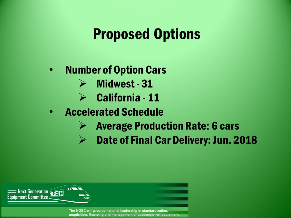 Proposed Options Number of Option Cars Midwest - 31 California - 11