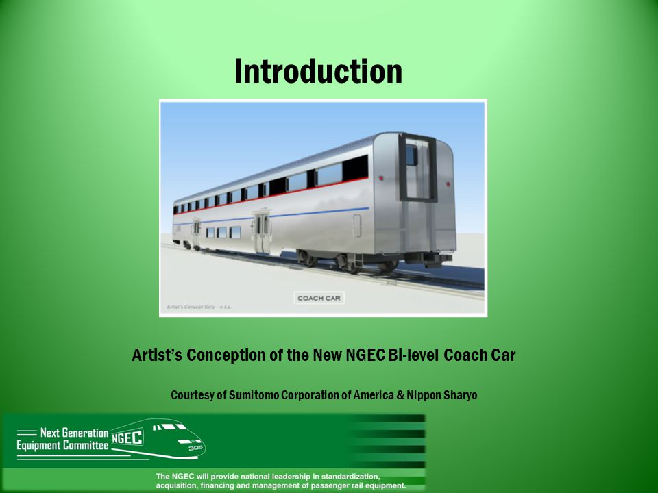 Introduction Artist's Conception of the New NGEC Bi-level Coach Car