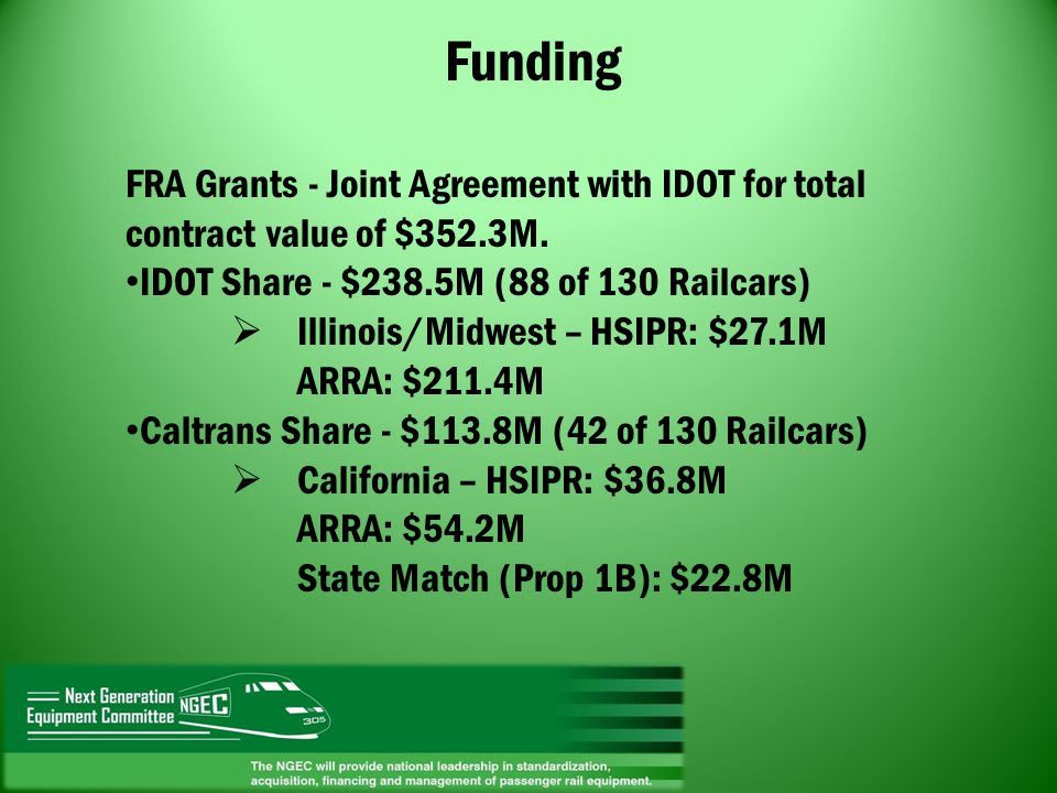 Funding FRA Grants - Joint Agreement with IDOT for total contract value of $352.3M. IDOT Share - $238.5M (88 of 130 Railcars)