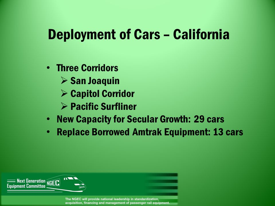 Deployment of Cars – California