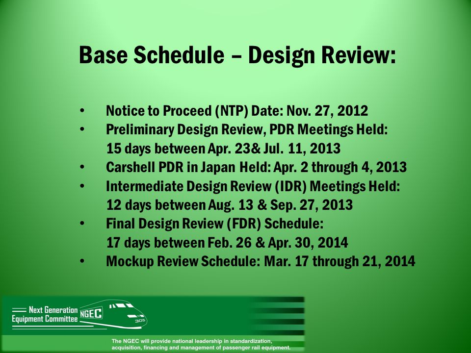 Base Schedule – Design Review: