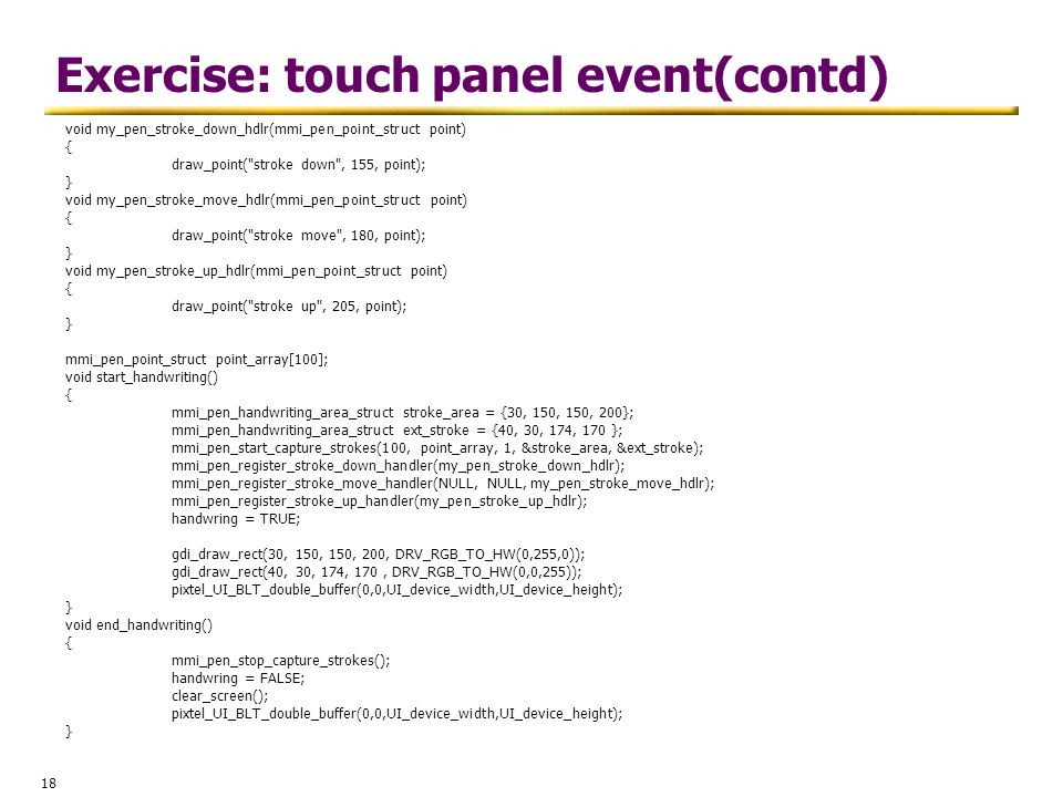 Exercise: touch panel event(contd)
