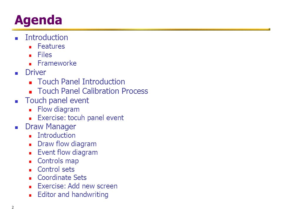 Agenda Introduction Driver Touch Panel Introduction