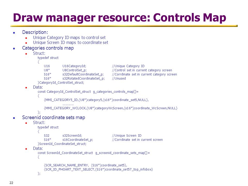 Draw manager resource: Controls Map